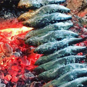 espetos de sardinas, calamar o sepia en Madrid